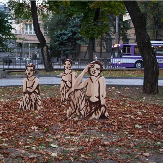 Three Young Muses, Art project of Artsvit Gallery and German Consulate of Donezk. Artist: Imke Rust