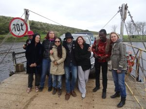 Travelling by ferry with some of the participating artists on a cold and rainy day.