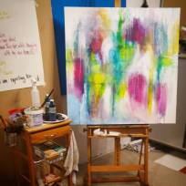 Spring is coming... abstract artwork on my easel