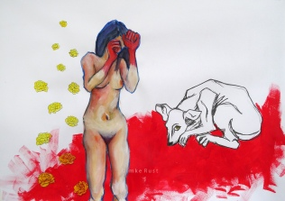Woman & Dog. Mixed Media 63x88cm