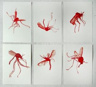 Mozzi Trophies. Blood and Acrylic Medium on paper.Each 29x21cm
