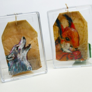 Teabag Totem Wolf and Squirrel (Sold)