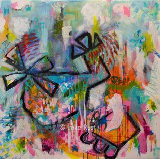 Wild, Wild, Helicopter Child, Acrylic on Canvas, 100x100cm